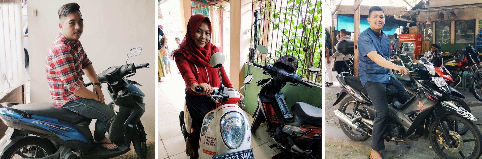 Conductores de Jakarta muestran sus scooters
