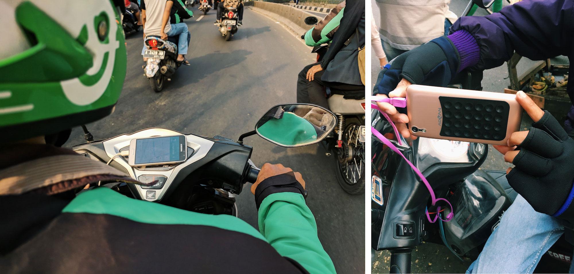 Los conductores de dos ruedas en Yakarta demuestran cómo conectan sus teléfonos a sus motos, ya sea con un soporte para el teléfono (izquierda) o con un dispositivo de succión (derecha).