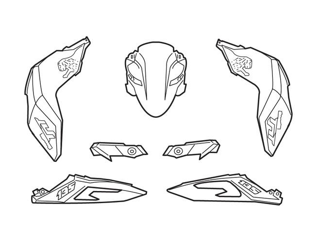 Despiezar tiras de piezas de plástico de la motocicleta